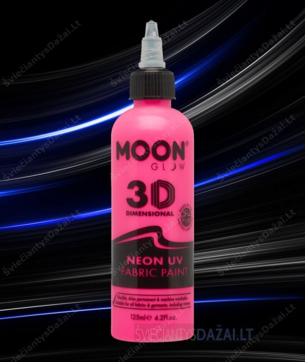 Šviečiantys UV, erdviniai 3D dažai audiniams 30 ml.