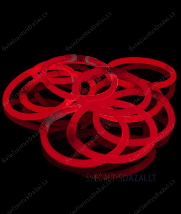 Raudonos šviečiančios lazdelės - apyrankės 100 vnt. pakuotė