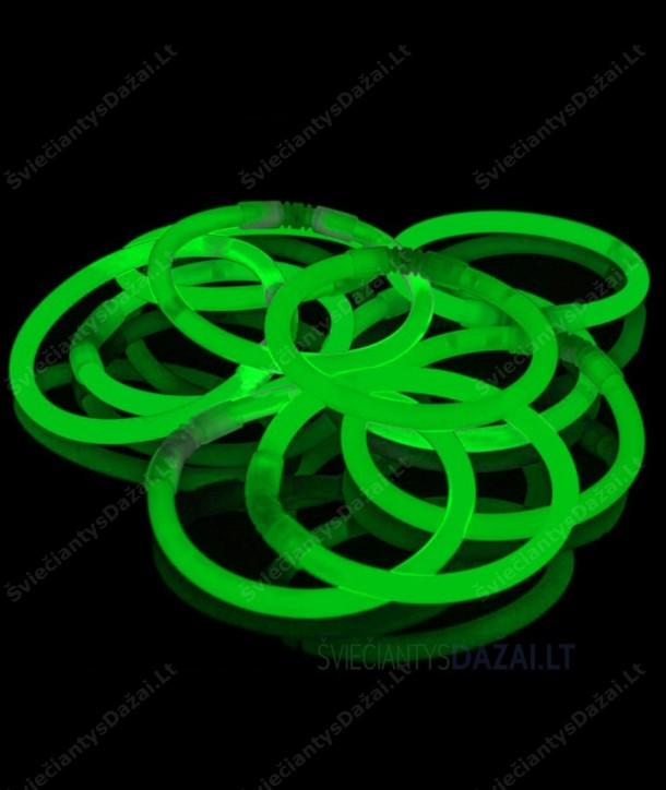 Žalios šviečiančios lazdelės - apyrankės 100 vnt. pakuotė