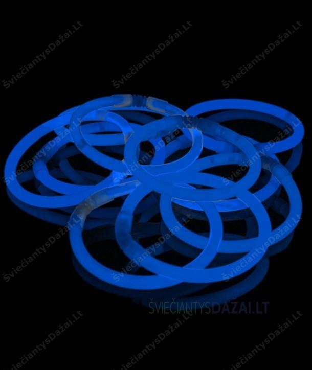 Mėlynos šviečiančios lazdelės - apyrankės 100 vnt. pakuotė
