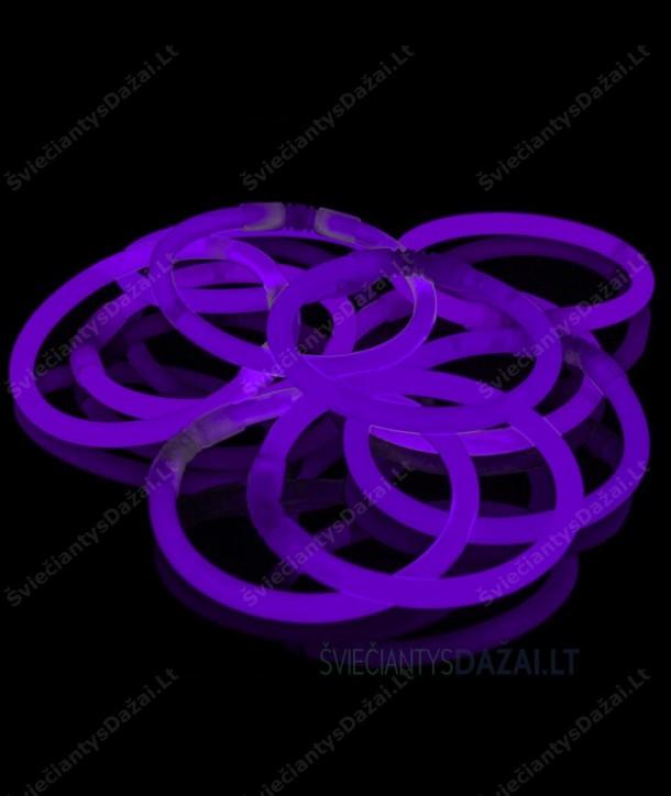 Violetinės šviečiančios lazdelės - apyrankės 100 vnt. pakuotė