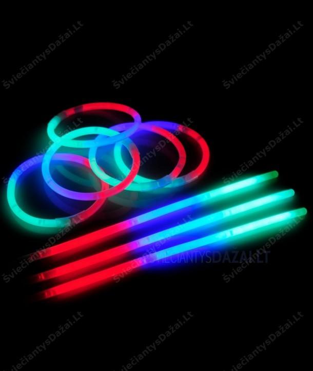 Trispalvės šviečiančios lazdelės - apyrankės 100 vnt. pakuotė