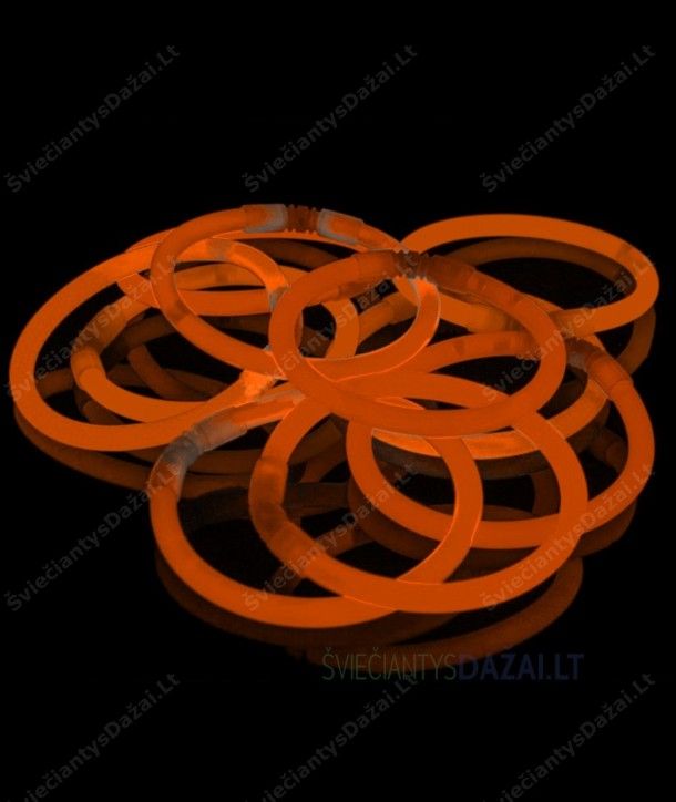 Oranžinės šviečiančios lazdelės - apyrankės 100 vnt. pakuotė
