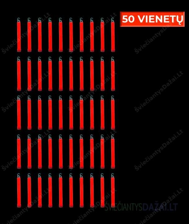 Raudonos šviečiančios lazdelės 15 cm, 50 vnt.
