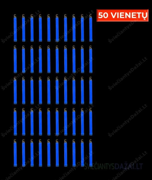 Mėlynos šviečiančios lazdelės 15 cm, 50 vnt.